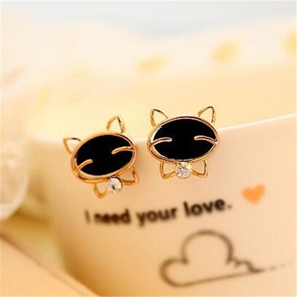 Rhinestone Cat Stud Earrings