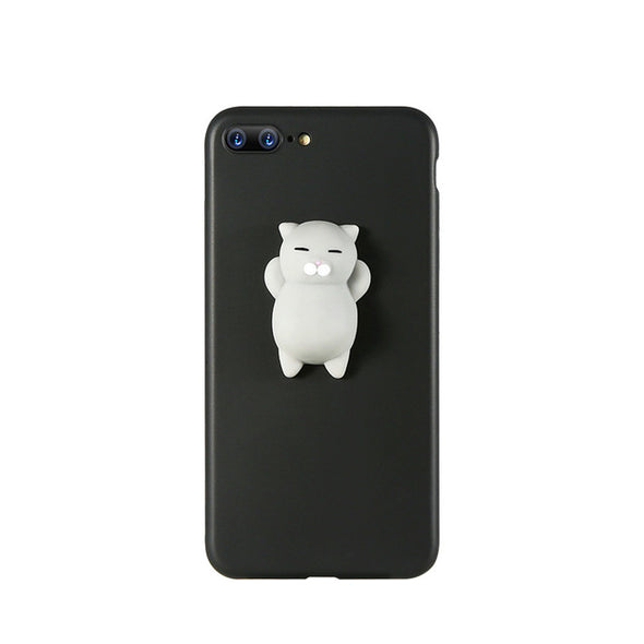 Grey Squishy Cat IPhone Case (Black)