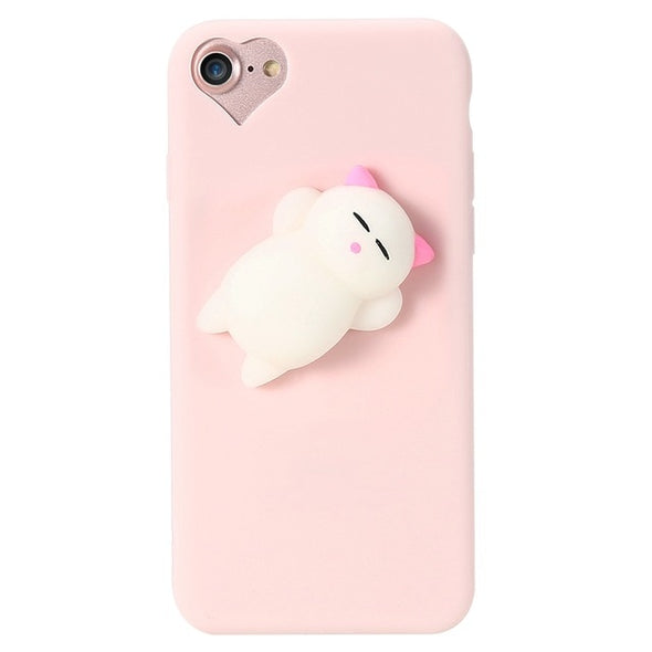 Cute Squishy Cat iPhone Case (Pink)