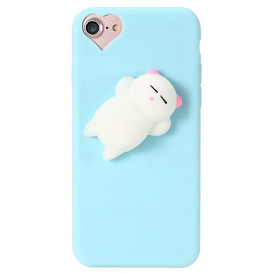 Cute Squishy Cat iPhone Case (Blue)
