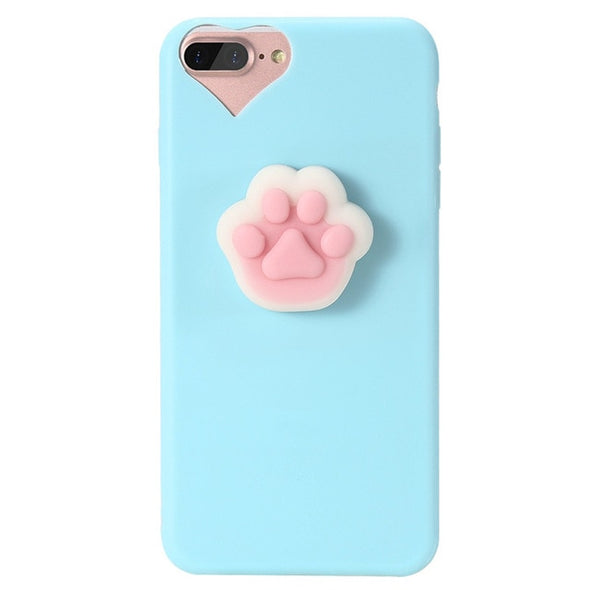 Pink Squishy Paw case for Iphone (Blue )