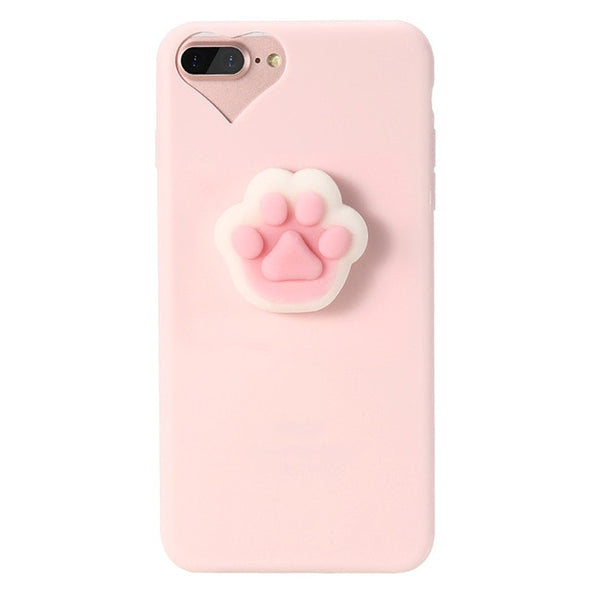 Pink Squishy Paw iPhone Case (Pink)