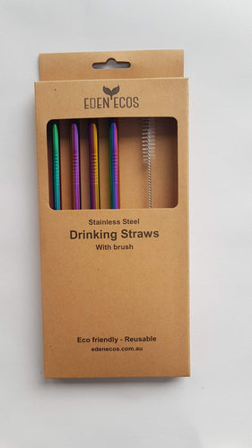 Stainless Steel Straws - 4 Pack with Brush