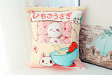 Strawberries & Cream Bunnies Tsumettow Pillow
