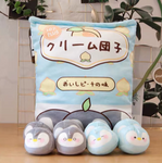 Peach Dumpling Penguins Tsumettow Pillow Back