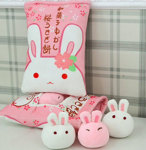 Sakura Bunnies Travel Tsumettow Pillow Back with Plushies Exposed