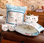 Peppermint Cats Tsumettows Pillow with Plushies Exposed