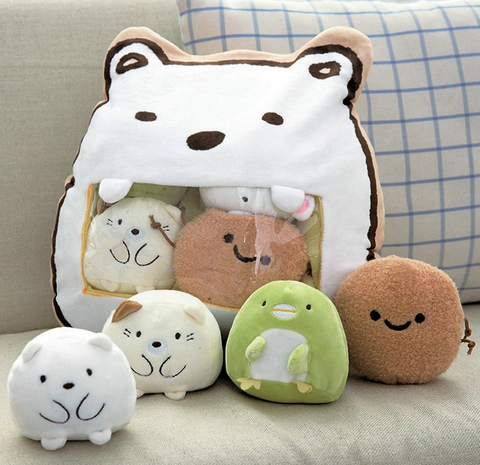 Polar Bear and Friends Tsumettow Pillow with Plushies Exposed