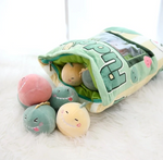 Pudding Dinos Tsumettow Pillow with Plushies Exposed Front