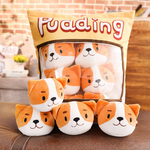 Pudding Pups Tsumettows Pillow Front with Plushies Exposed