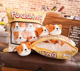 Pudding Pups Tsumettows Pillow Opened with Plushies Exposed