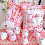 Sakura Bunnies Tsumettow Pillow Front and Back with Plushies Exposed