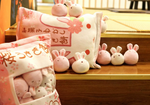 Sakura Bunnies Tsumettow Pillow with Plushies Out