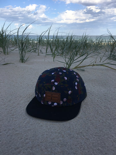 5 panel custom Hat ( red on blue floral )