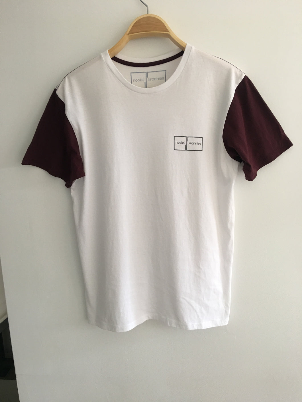 Mens T Shirt (White With Maroon)