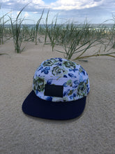 Load image into Gallery viewer, 5 panel custom Hat ( blue on white floral )