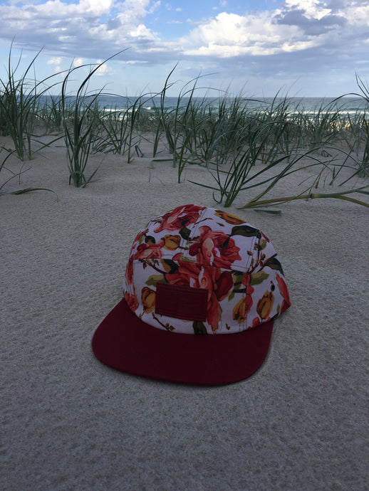 5 panel custom Hat ( red floral )