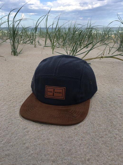 5 panel Hat (Grey with brown suede peak)