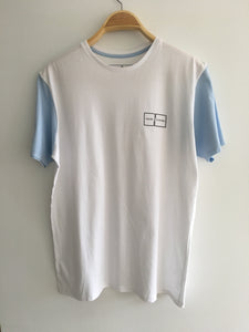 Men's T Shirt (White With Light Blue)