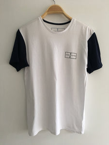 Mens T Shirt (White With Dark Blue)