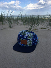 Load image into Gallery viewer, 5 panel Hat ( blue on blue floral )