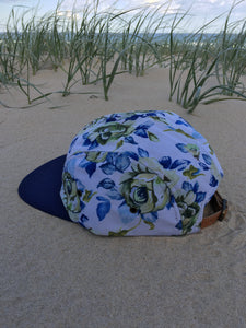 5 panel custom Hat ( blue on white floral )