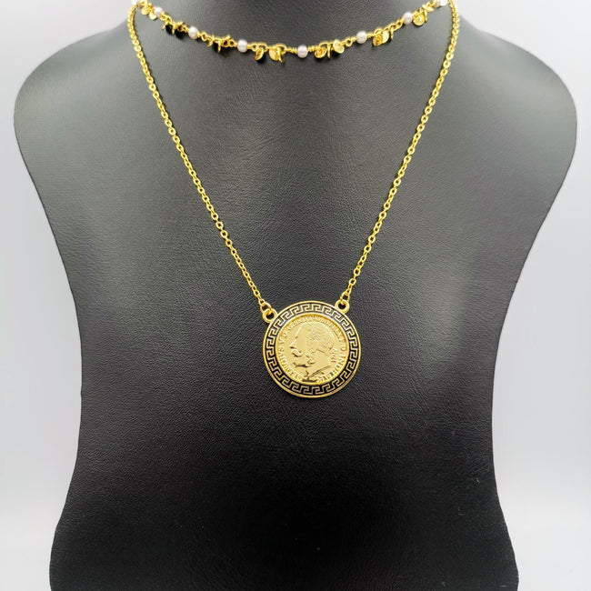 24K Gold Plated 2 Layer Pearl Ver.sace Necklace - Offer Hunts
