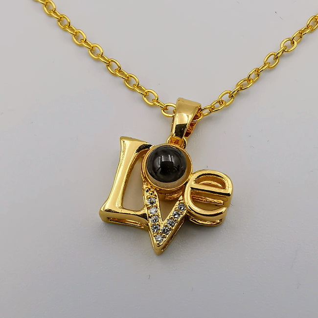 18K Yellow Gold Plated [I Love You in 100 Languages] Love Lens Necklace - Offer Hunts