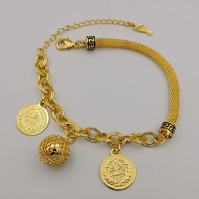 24K Gold Plated Chain Rope Ball Coin Bracelet - Offer Hunts