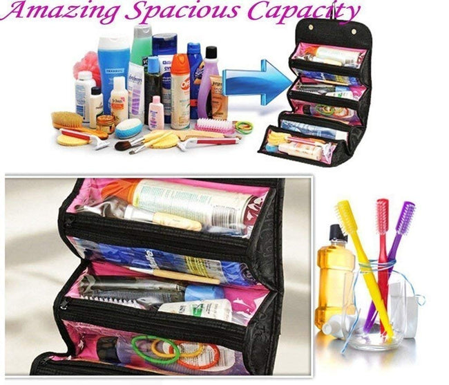 Makeup Bag Cosmetic Hanging Organizer Roll N Go Roll Up Foldable Case - Offer Hunts