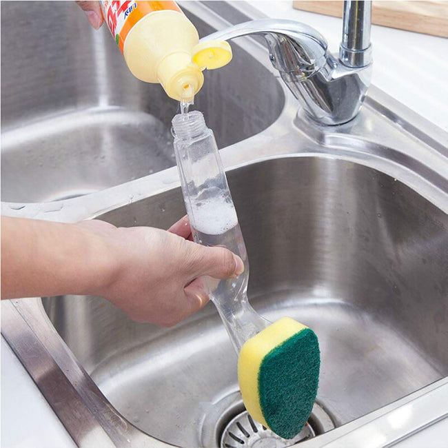 Dish Scrubber with Handle and Soap Dispenser Heavy Duty Dish Brush - Offer Hunts