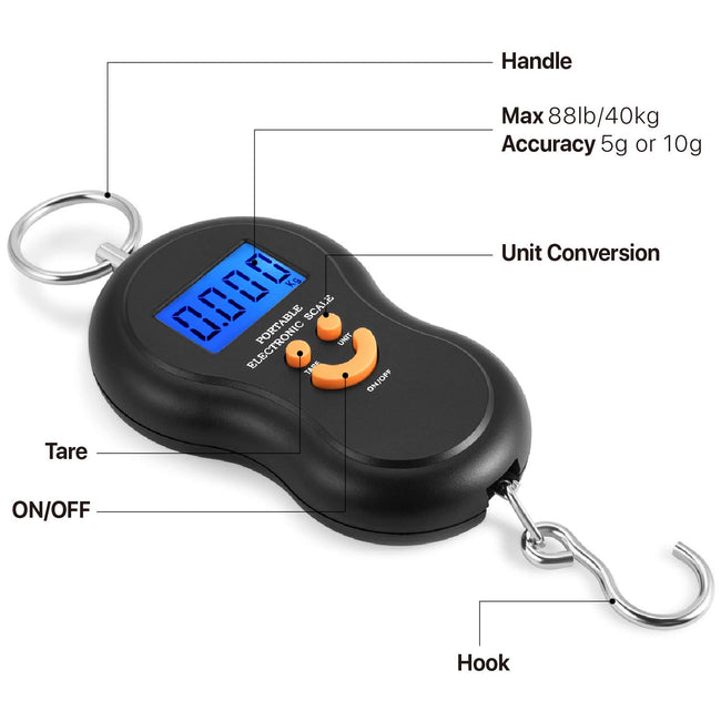 Digital Hanging Scale, 40kg Weight Capacity for Kitchen and Luggage - ORANGE - Offer Hunts