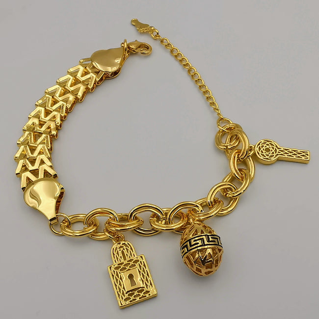 24K Gold Plated Bi Chain Egg Key Padlock Bracelet - Offer Hunts