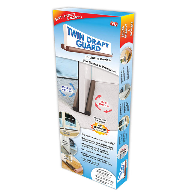Original Twin Draft Guard Door Draft Stopper, Year Round Insulator, For Summer and Winter Use PATENTED & TRADEMARKED - Offer Hunts