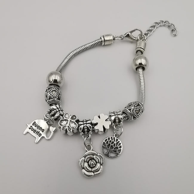 Pand0ra Clone Charm Bracelet [Elephant + Flower + Tree] - Offer Hunts