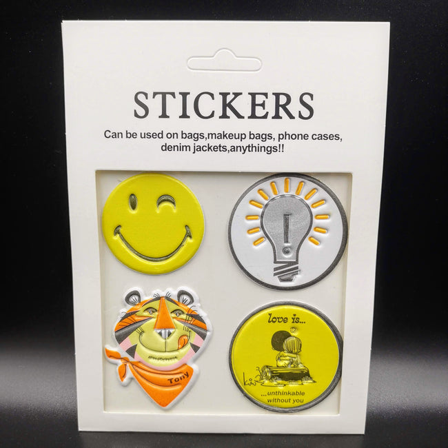 Smiley Round Patches (4 Stickers) DIY For Bags, Laptops, Clothing and any Material - Offer Hunts