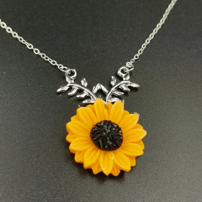 Sunflower Necklace - Silver (Orange Flower) - Offer Hunts