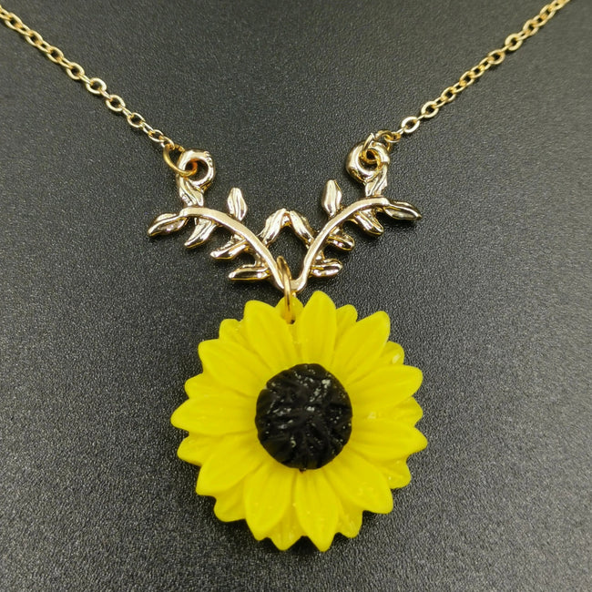 Sunflower Necklace - Rose Gold (Yellow Flower) - Offer Hunts