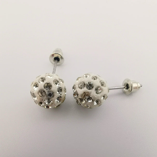 White Pava Stone Crystal Earrings Stud - Offer Hunts