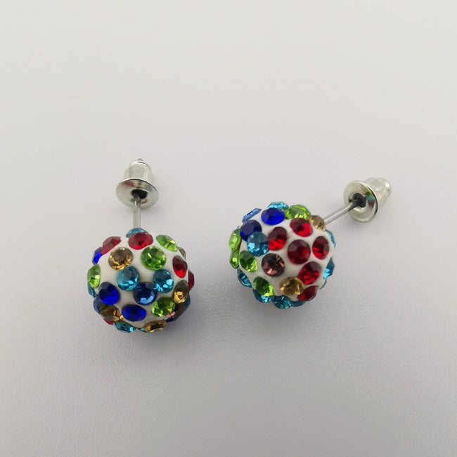 Rainbow Pava Stone Crystal Earrings Stud - Offer Hunts