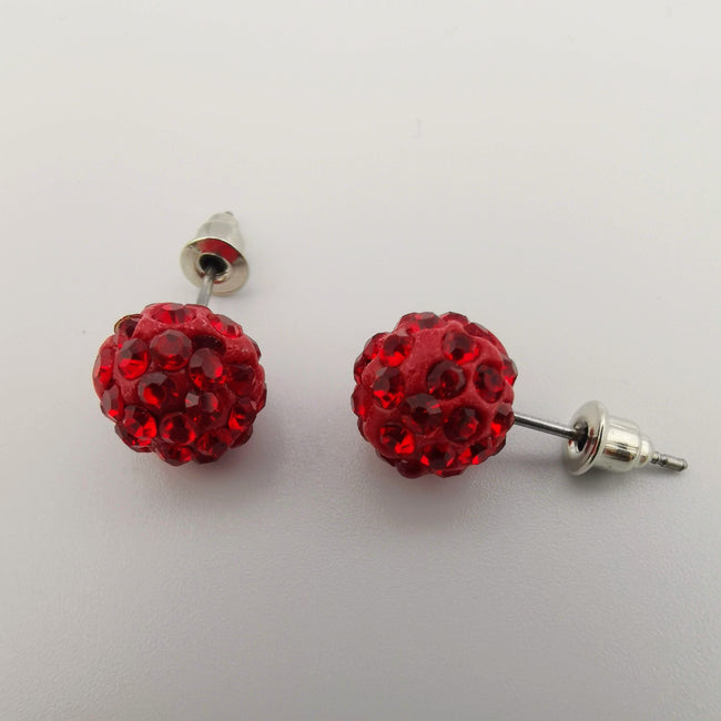 Red Pava Stone Crystal Earrings Stud - Offer Hunts