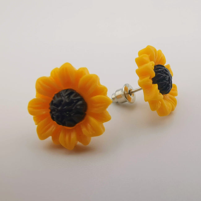 Orange Sunflower Earrings Stud - Offer Hunts