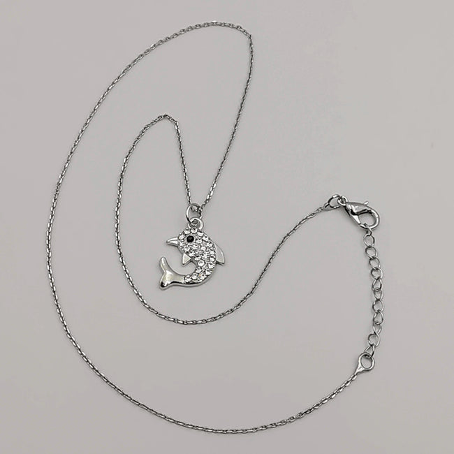 Dolphin Necklace with CZ Crystals - Offer Hunts