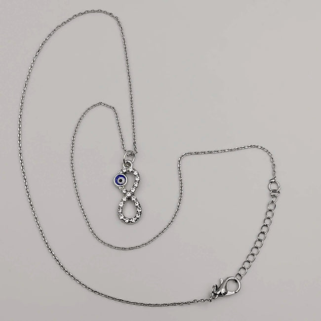 Infinity Evil Protection Necklace with CZ Crystals - Offer Hunts