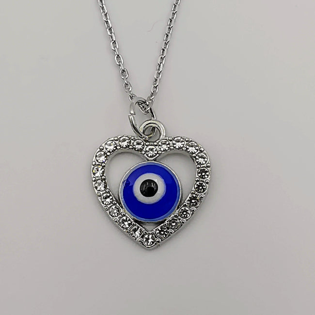 Heart Evil Protection Necklace with CZ Crystals - Offer Hunts