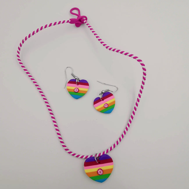 Rainbow Heart Necklace and Earrings Set - Offer Hunts
