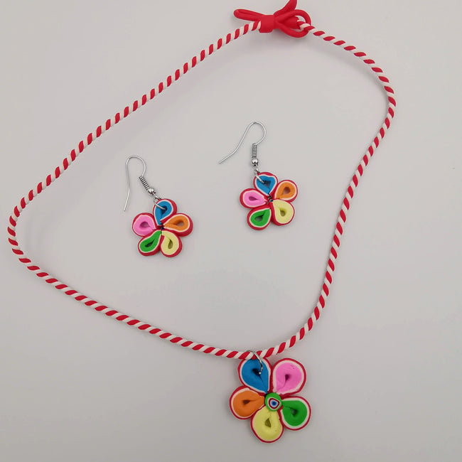Flower Petals Necklace and Earrings Set - Offer Hunts