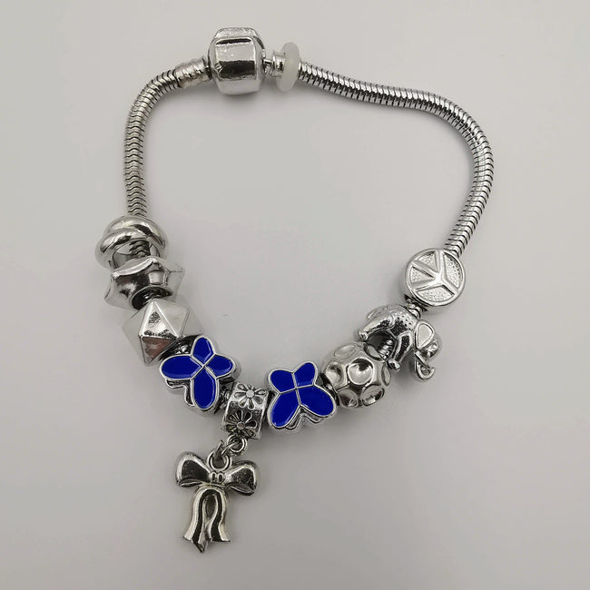 Dark Blue Butterfly Ribbon Charm Bracelet - Pand0ra Like - Offer Hunts