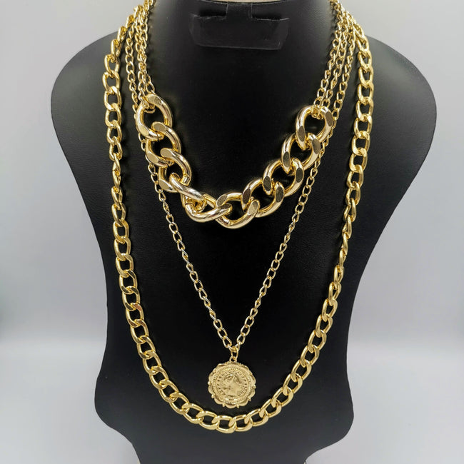 Multi Layer Golden Chain with Coin Pendant - Offer Hunts