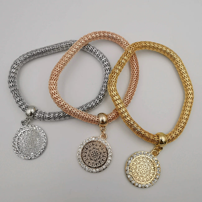 3 Bracelet Charm Set - Silver + Gold + Rose Gold - Offer Hunts